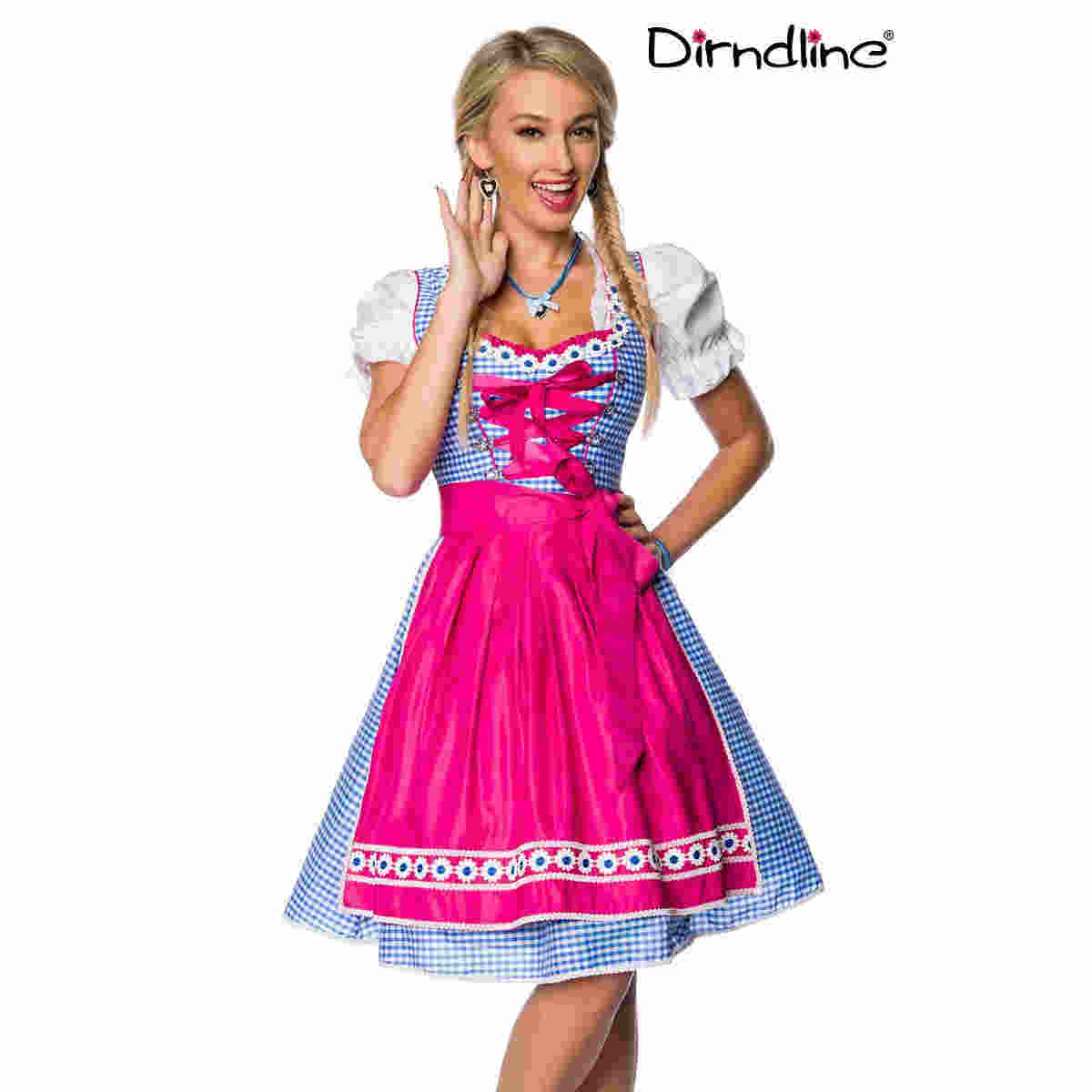 Traditionelles Karodirndl in Blau/Pink, Gr. XS - 3XL