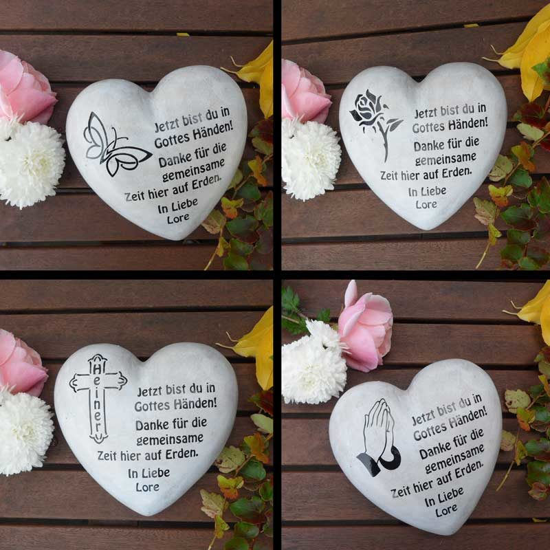 Grabschmuck Grabherz mit individuellem Text